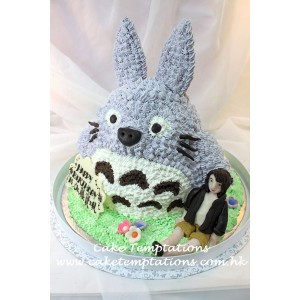 3D Totoro With Pretty Girl Cake