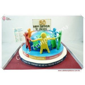 Semi 3D earth celebration cake