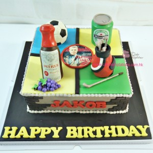 Wine golf beer football cake