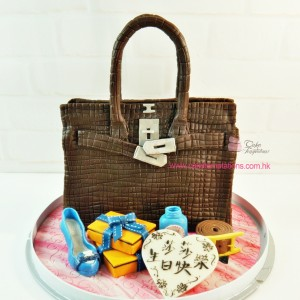 3D Hermes Kelly Handbag-BROWN color Cake