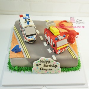 Police car, fire engine cake