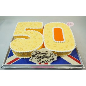 Number 50 Shape Cake