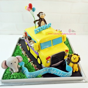 3D Animals School Bus cake