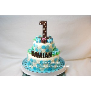 Little Baby Boy 1st Birthday 2 Tier Cake
