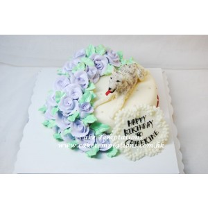 Elegent Purple Roses Cake w. Husky Dog