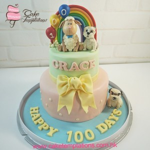 Sheep baby with Dogs  100 days cake