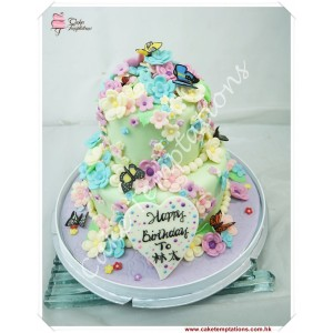 2 layers Lovely Flowers Cake