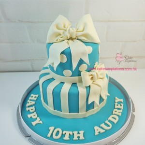 Tiffany Blue 2 tiers Big Bow cake
