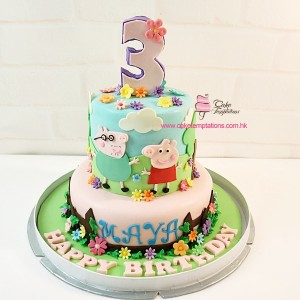 2 layers Garden themed Peppa Pig Cake