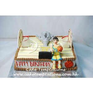 Basketball Field Cake w. 3D Golden Cup