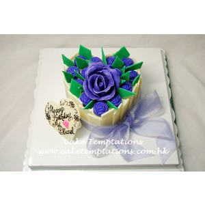 Blue Roses Heart with Chocolate