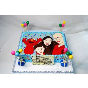 Happy Family Cartoon Cake