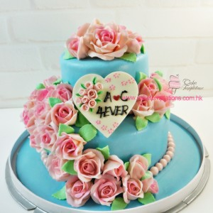 2-Layers Roses Cake