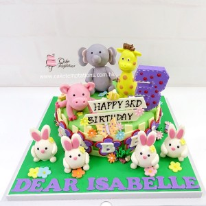 Animal Celebration Party cake with Mini rabbits
