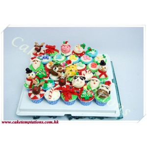 MERRY XMAS Mini Cute Cartoon Cupcake Set