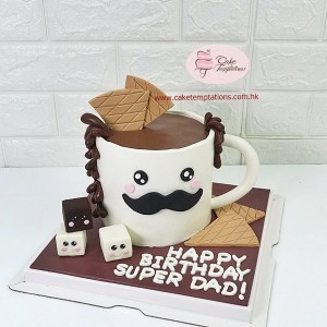 3D Super Daddy Coffee Mug Cake