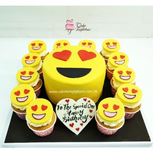 Emoji heart shape eye cupcake set