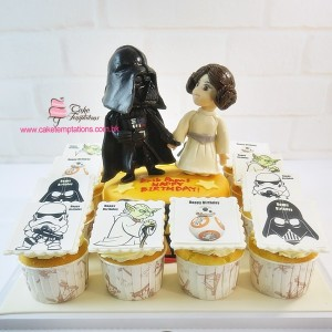 Star wars Dark Vader & Princess Leia Cupcake set