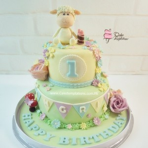 2 Layers Happy Sheep 1st birthday cake