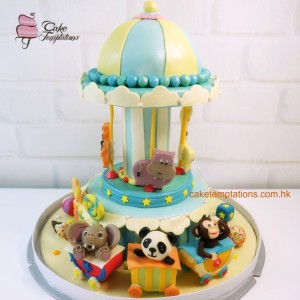Happy Baby Animals Merry Go Around Cake