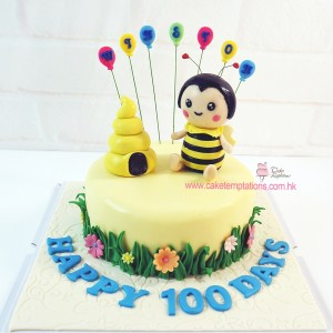 3D Beehives & Bumblebee 100 days cake