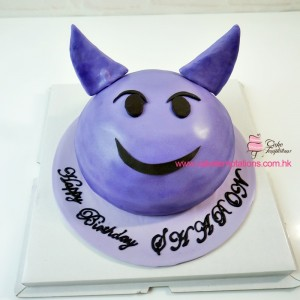3D Purple Emoji Evil Head cake