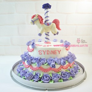 2 Layers Carousel cake with purple roses