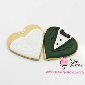 Groom & Bride heart shape cookies