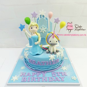 3D Snow Themed Castle with Elsa & Unicorn