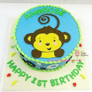 Cute Baby Monkey Photo print cake