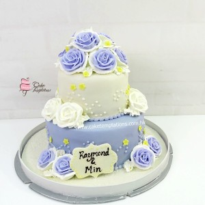 2 Layers Purple Rosette Wedding Cake