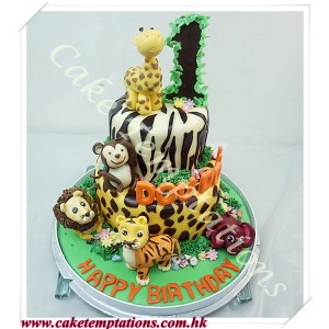 2 layers forest theme w. leopard pattern cake