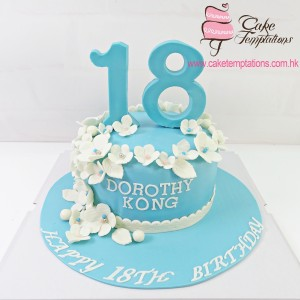 1 Tier Tiffany Blue 18th Birthday cake