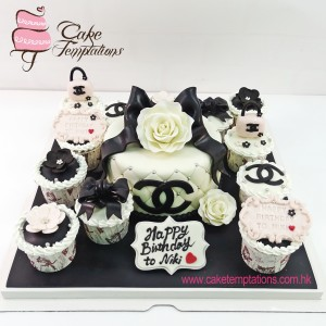 Chanel Roses Cupcakes Set