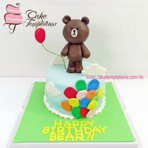 Line Brown Balloons Cake