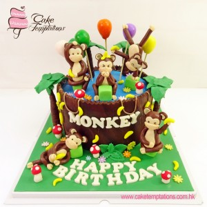 1 Tiers Monkey's Party Cake