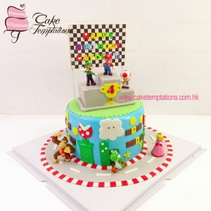 3D Super Mario racing field cake with Mini toy figures