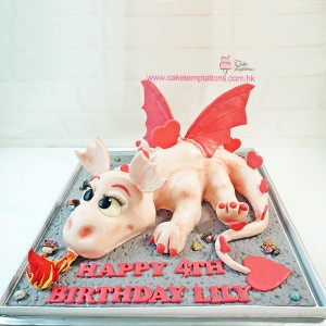 3D Puff the Pink Dragon cake