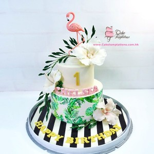 2 tiers Pink Flamingo with tropical leaves themed cake
