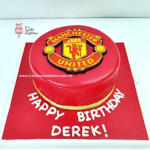 2D Red Manchester United Logo Cake