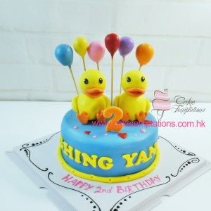 Twins  B. Duck Birthday Cake