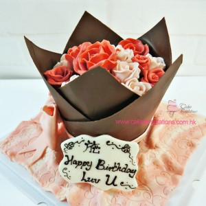 3D Roses Bouquet Cake - Pink Color Theme