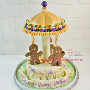 3D Mini Gingerbread Man Go Around Cake