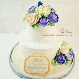Purple- 2 layers Elegant flowers celebrations cake