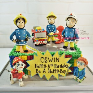 3D Fireman Sam With LEGO Themed Cake