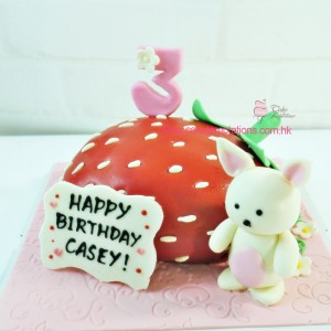 Strawberry shape rabbit cake