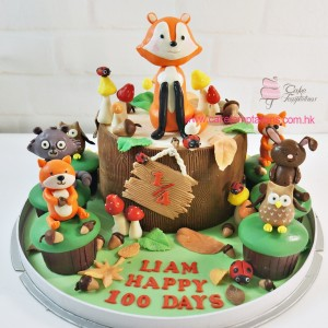 Little Forest Fox Birthday Cake  set