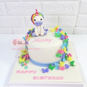 Baby Unicorn with rainbow butterfly