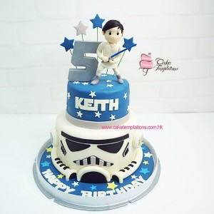 2 Layers  Star Wars themed cake