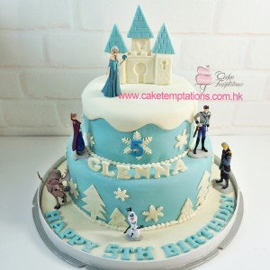 2 layers Frozen Cake w. Mini Frozen Figures
